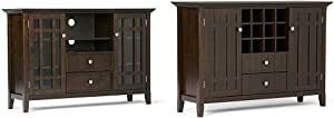 """Simpli Home Bedford TV Media Stand for TVs up to 60"""", Dark Tobacco Brown + Simpli Home Bedford Sideboard Buffet & Winerack, Tobacco Brown, Standard :Bundle"""