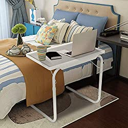 Adjustable Portable Foldable Tv Tray Table With 6 Height&3 Tilt Angle Laptop Eating Stand W/adjustable Tray&sliding Adjustable As Seen On Tv Comfy Bedside Table Foldable Table Mate Laptop Table