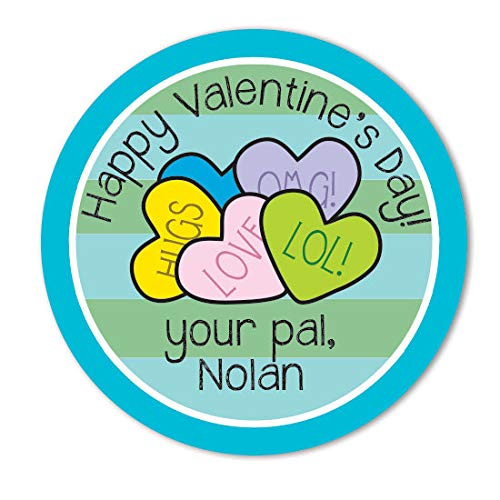 Personalized Conversation Hearts - Candy Conversation Hearts Valentines Personalized Valentines Day Stickers Labels for School Goody Bag Favor Bags for Boy Or Girl