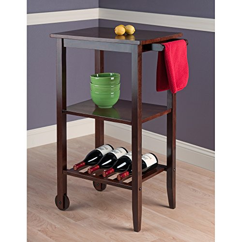 Winsome Stevenson Kitchen Cart With 2-Wood Wheel, Brown