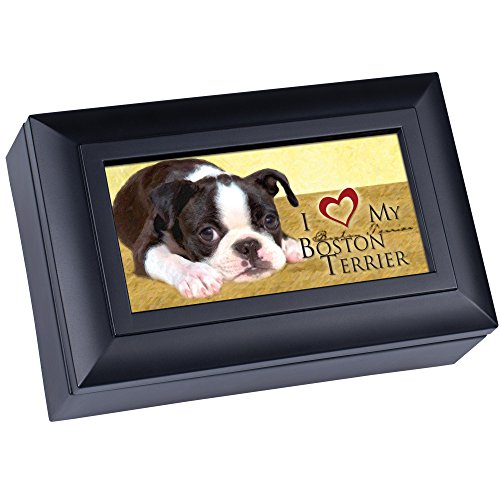 Love My Boston Terrier Cottage Garden Matte Black Finish Petite Jewelry Music Box - Plays Song Wonderful World