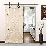 LUBANN 42 in. x 84 in. X-Brace Rustic Unfinished Knotty Pine Barn Door (X-Brace)