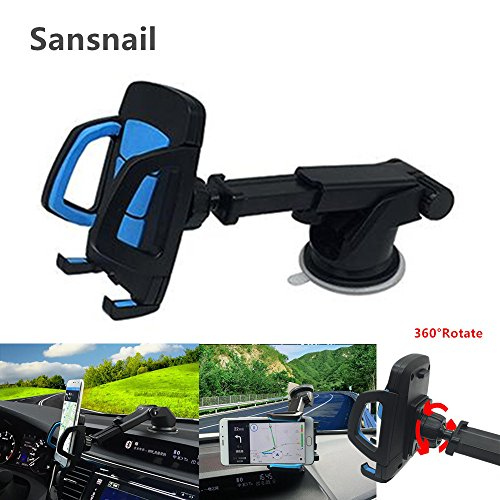 Sansnail Car Phone Holder, 360° Adjustable Phone Car Mounts Telescopic Car Mount Holder Cell Phone Cradle by Car Phone Stand Universal Phone Car Dock and Car Phone Bracket for IPhone/Ipad etc (Blue)