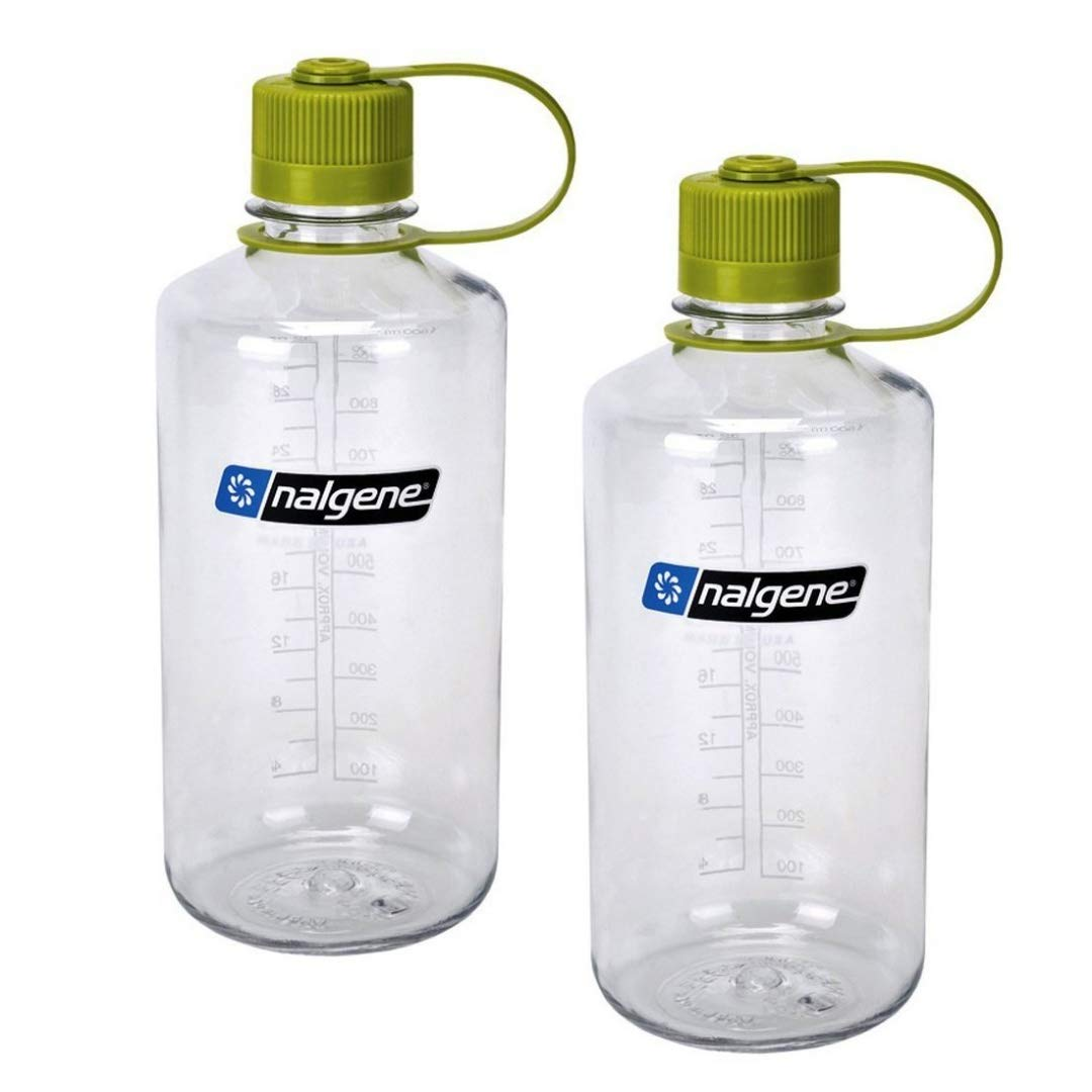 Nalgene Narrow Mouth 1 qt Everyday Water Bottle - 2 Pack (Clear With Green Lid)