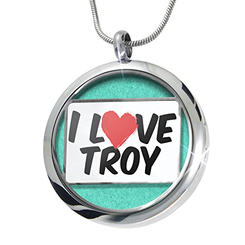 Troy Diffuser - NEONBLOND I Love Troy Aromatherapy Essential Oil Diffuser Necklace Locket Pendant Jewelry Set