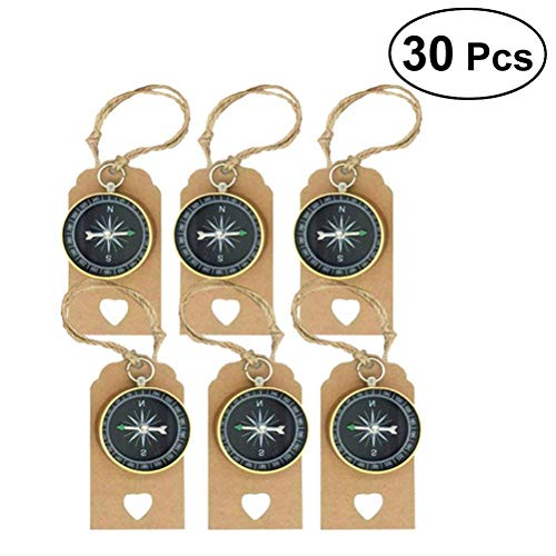 Tuersuer Wedding Festival Party Decoration 30 Sets Travel Themed Souvenirs Compass and Tags Labels Party Favors for Wedding Birthday -