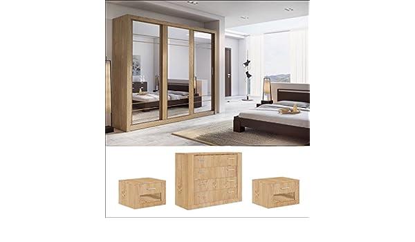 Arthauss Set de Dormitorio Moderno Arti 2 3 Armario de Puertas correderas 250 cm en Roble Shetland se Vende: Amazon.es: Hogar
