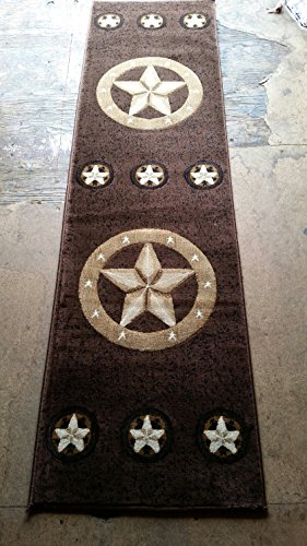 Skinz Texas Lone Star Runner Area Rug Design 78 Chocolate(2 Feet X 7 Feet ()