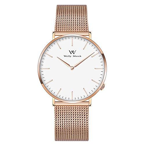Welly Merck Men's Luxury Watch Minimalistic Design Quartz Movement Sapphire Crystal Analog Wrist Watch Rose Gold Stainless Steel 20mm Width Mesh Interchangeable Strap 5 ATM Water Resistant