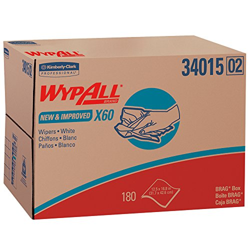 Wypall X60 Reusable Cloths (34015) in Brag Box, White, 180 Sheets/Box, 1 Box/Case - Industrial Box