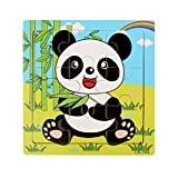 Gbell Wooden Puzzle Set for Preschool Toddlers, Cute Animal Jigsaw Board Educational Toy Gift for 1-3 Year Old Baby Girls and Boys Kids - Train Giraffe Zebra Panda Elephants Puzzles (D)