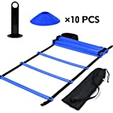 Speed Agility Train Kit, 19Ft Flat Ladder + 10pcs Disc Cones Speed Training Ladder with Storage Bag for Athletic Training