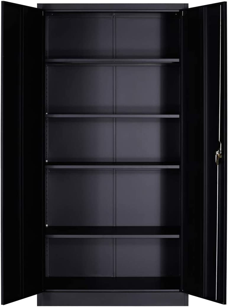 GREATMEET Black Steel Cabinet, Storage Cabinet Steel with Adjustable Shelves, 72 Height x 36 Width x 18 Depth and Lock 2 Doors,Cupboards for Kitchen, Office and Laundry Room, Black Black