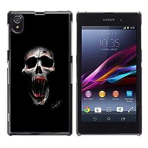 LECELL--Funda protectora / Cubierta / Piel For Sony Xperia Z1 L39 -- Cráneo malvado --