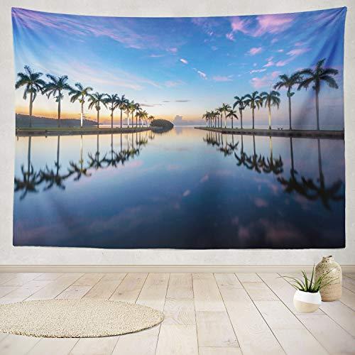 ONELZ Decor Collection, Estate Sunrise Beach Beautiful Blue Estate Evening Holiday Island Landscape Bedroom Living Room Dorm Wall Hanging Tapestry 60 L X 80 W Polyester Polyester - Island Collection Estate