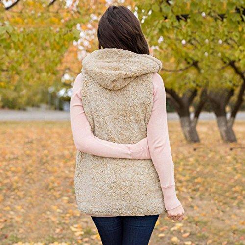 Beige Escudo Warm con Sherpa sintética mujer piel Abrigo cremallera Chaqueta Casual para Internet Outwear de abrigo Chaleco Hoodie Winter UYqB4Ua