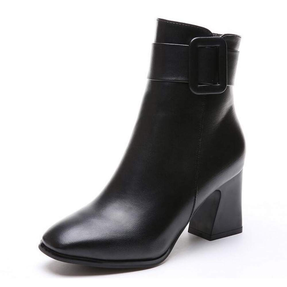 PINGXIANNV Frauen Seitlichem Reißverschluss Komfortable Platz Ferse Stiefeletten Mode Quadratische Kappe Halten Warme Winter Frauen Stiefel