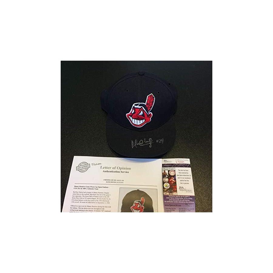 1995 Manny Ramirez Signed Game Used Cleveland Indians Baseball Hat Cap COA JSA Certified Autographed Hats