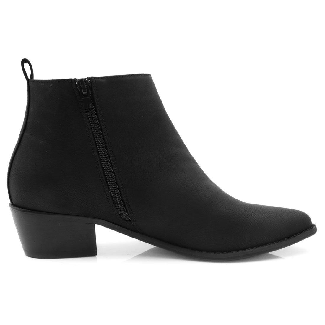 Allegra K Mujer Puntiagudo Toe Borla Apilados con Cremallera talón Tobillo Botines: Amazon.es: Zapatos y complementos