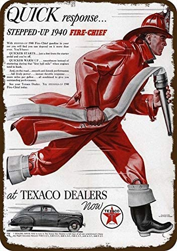 1940 TEXACO /& FIREMAN FIRE FIGHTER FIRE HOSE Vintage-Look REPLICA METAL SIGN