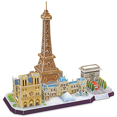 CubicFun 3D Puzzle for Adults and Kids Paris Cityline Architecture Building Model Kits 114 Pieces