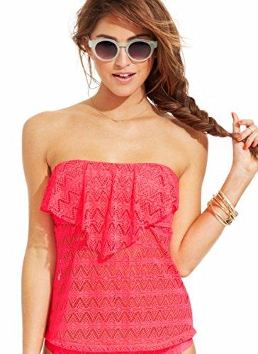 Hula Honey Crochet Halter Tankini Top Women's Swimsuit, Ginger, X-Small