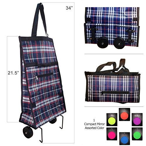 Genesis Folding Shopping Cart Trolley Bag with Wheels with Compact Cosmetic - Shopping Rolling Collapsible Tote