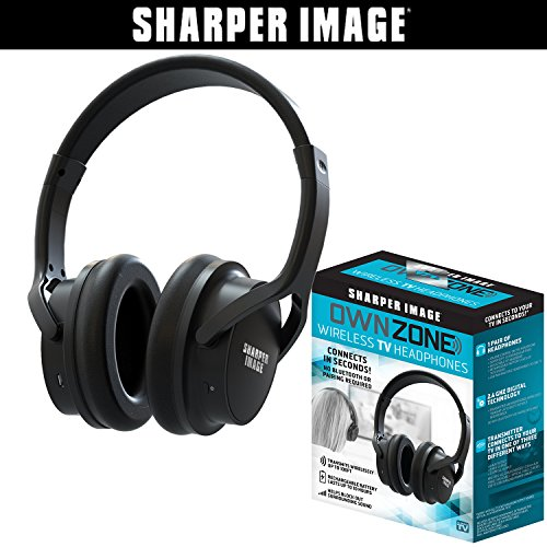 (Sharper Image OWN ZONE Wireless Rechargeable TV Headphones- RF Connection, 2.4 GHz, Transmits Wirelessly up to 100ft, No Bluetooth Required, AUX, RCA, & Optical Cable Included (Black))