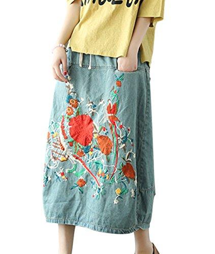 YESNO E07 Women Girl Denim Skirts Lagenlook Handcraft Embroidery Elastic Waist Drawstring ()