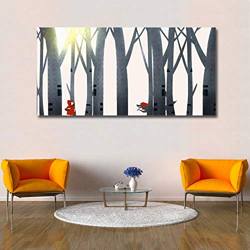 Libaoge Wall Print Art   Little Red Riding Hood and Timber Wolf in The Forest - Photograph Printed on Canvas for Home Wall Decoration   Stretched by Wooden Frame,Ready to -