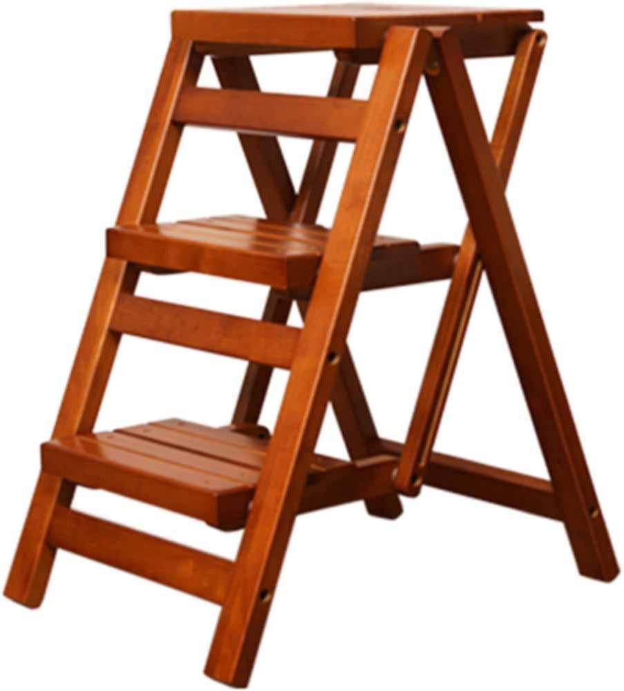 Amazon Com Ladders Solid Wood Ladder Folding Staircase Stool Multifunctional Bench Foldable No Need To Install Home Kitchen Stool Creative Ladder Solid Wood Environmental Protection Home Kitchen