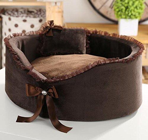 BAOLIJIN Cat Cat Cat Bed Forniture per Animali Domestici in Nido d'Ape con Materasso Caldo in Pizzo Marronee b69b24