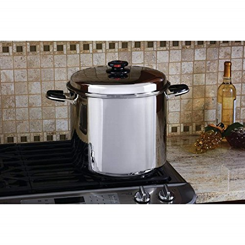 - Precise Heat 24 Qt. 12-Element ''Water-less'' Stockpot with Deep Steamer Basket