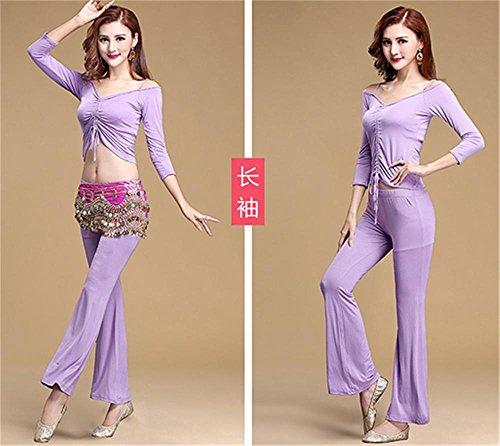 pratique couleur Usage 2pcs unie en la violet vêtements danse la ventre yoga du de de de confortables EqwPqxrzC