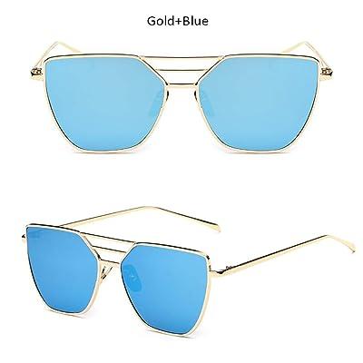 ZHOUYF Gafas de Sol Nueva Tapa Plana De Oro Rosa Espejo Gafas De Sol De Piloto Mujer Moda Diseñador De La Marca Vintage Aviation Gafas De Sol Mujer, B: Deportes y aire libre