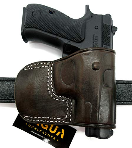 TAGUA Right Hand OWB Dark Brown Leather Yaqui Style Belt Slide Holster for CZ USA CZ-75 Full Size and Compact, CZ-75B