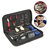 Complete Set Technician Watch Repair Fix Watchmaker Self Learning Equipment Pocket Tool Kit with 10X Magnifier, Wallet Style Carry Case Suit for Analog and Digital Men Women Watches