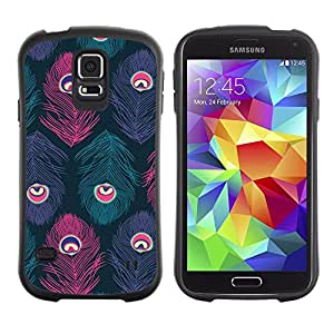 Suave TPU GEL Carcasa Funda Silicona Blando Estuche Caso de protección (para) Samsung Galaxy S5 / CECELL Phone case / / Feather Eye Teal Purple Bird /