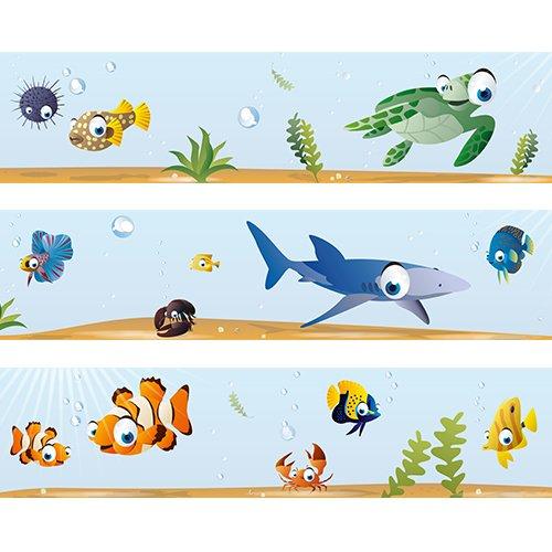 Bordi da parete 'Oceano mondo sottomarino' Wandkings Lunghezza: 450 cm, autoadesivi, per la stanza dei bambini