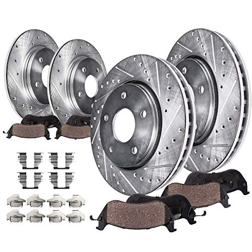 Detroit Axle - All (4) Front and Rear Drilled and Slotted Disc Brake Rotors w/Ceramic Pads w/Hardware for 2003 2004 2005 2006 2007 Honda Accord V6