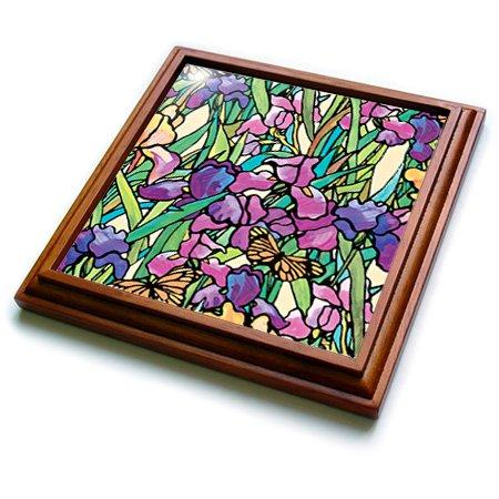 3dRose trv_5726_1 Iris Trivet with Ceramic Tile, 8 by 8