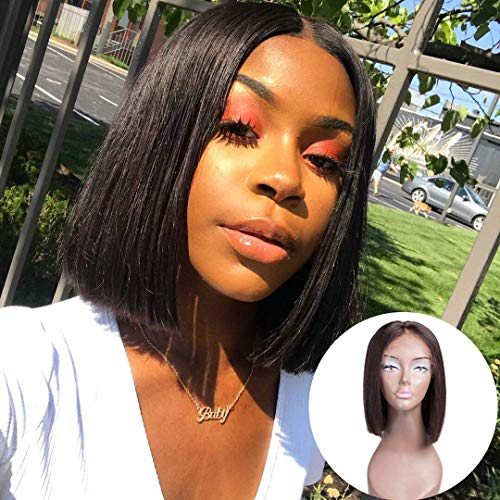 Donmily Brazilian Virgin Straight Short Bob Wigs Lace Front Middle Part 100% Human Hair Wigs with Baby Hair for Black Women 10inch