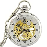 Youyoupifa Roman Number Open-face Silver Mechanical Pocket Watch with Chain