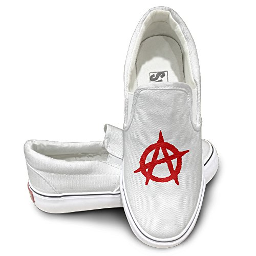 MGTER66 Anarchy Logo Fashion Slip On Sneaker Unisex Style Color White Size 44