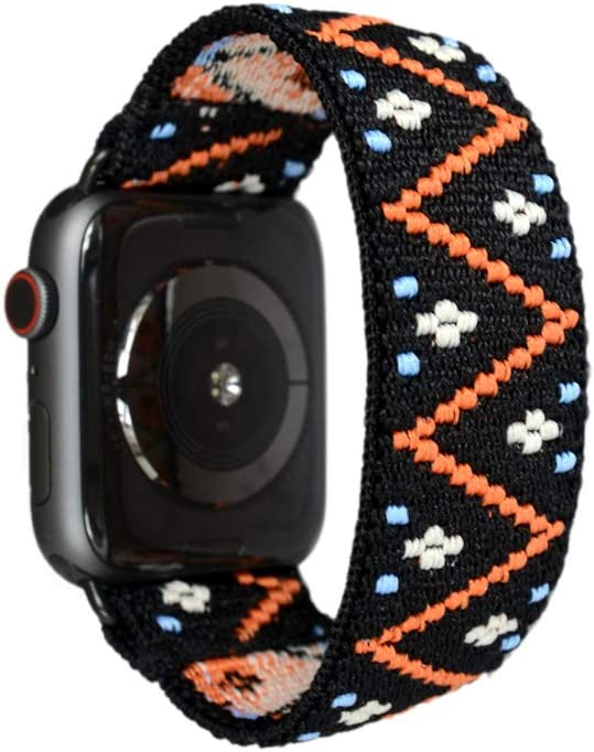 Tefeca Embroidery Polyline Pattern Elastic Compatible/Replacement Band for Apple Watch 38mm/40mm (Black Adapters, S fits Wrist Size : 6.0-6.5 inch)