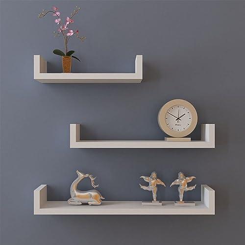 Miageek US STOCK 3 U Shape Floating Wall Mounted Shelves Storage Displaying Shelf Set, Espresso Finish White