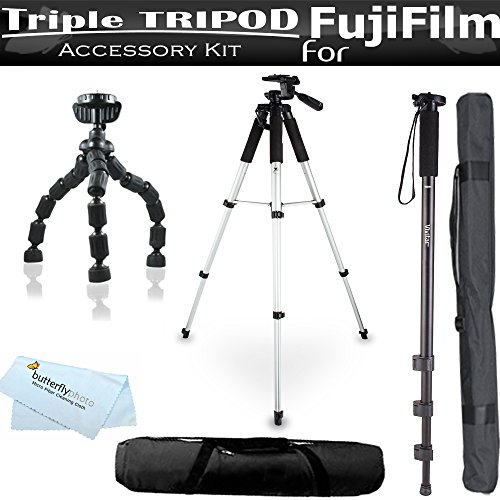 Triple Tripod Kit For Fujifilm FinePix X-E1 HS30EXR F770E...