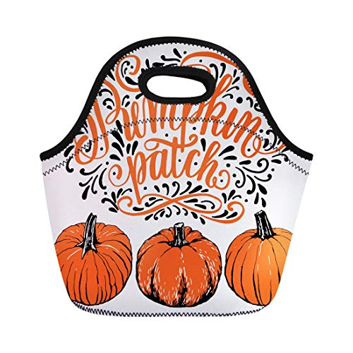 Semtomn Neoprene Lunch Tote Bag Pumpkin Patch Halloween Hand Lettering and Sign Vintage Farm Reusable Cooler Bags Insulated Thermal Picnic Handbag for Travel,School,Outdoors,Work