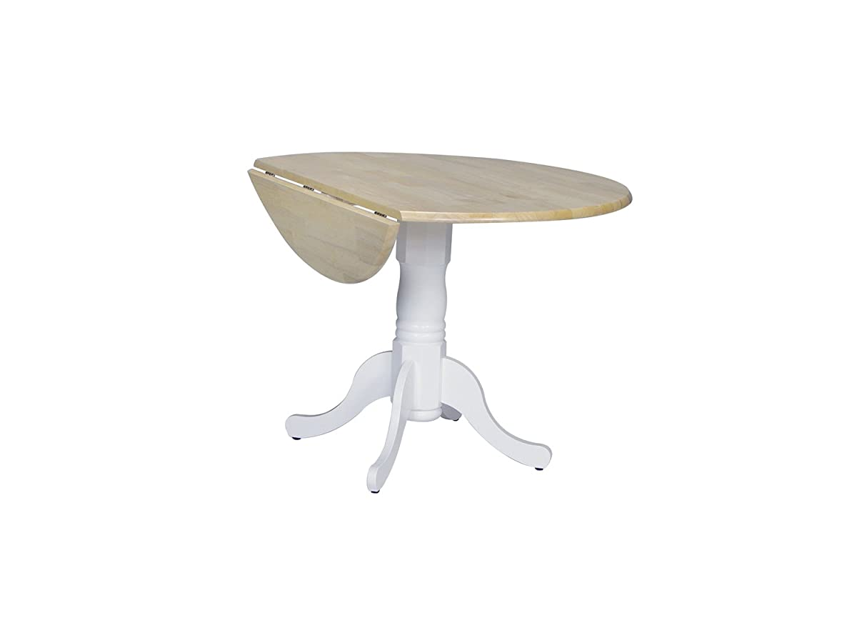 International Concepts T02-42DP 42-Inch Round Dual Drop Leaf Ped Table, White/Natural
