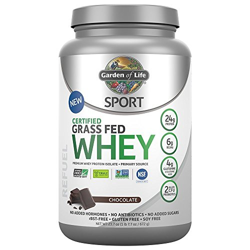 Garden of Life Sport Certified Grass Fed Clean Whey Protein Isolate, Chocolate, 23.7oz (1lb 7.7oz/672g) (Life Whey Protein)